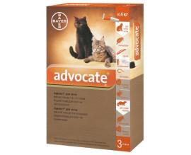 Капли от блох, клещей и глистов для кошек до 4 кг Bayer Advocate, 3 пипетки
