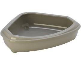 Угловой туалет для кошек Moderna Cozy с бортиком теплый серый