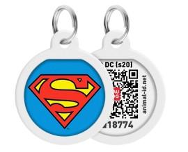 Адресник для собак WAUDOG Smart ID с QR-паспортом, премиум, Супермен-герой (0625-1009)