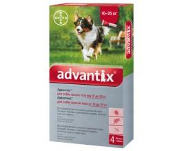 Капли от блох и клещей для собак 10-25 кг Bayer Advantix, 4 пипетки