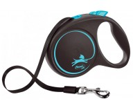 Рулетка для собак Flexi BLACK DESIGN L 5 м до 50 кг (лента) синяя (FL 034132)